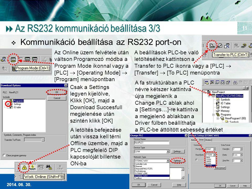 Magas szintű Ipari Automatizálás 2014. 06. 30. 11  Az RS232 kommunikáció beállítása 3/3  Kommunikáció beállítása az RS232 port-on Az Online üzem fel