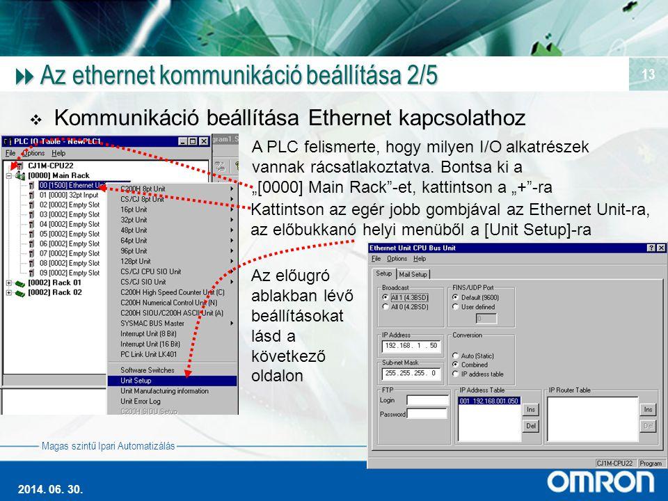 Magas szintű Ipari Automatizálás 2014. 06. 30. 13  Az ethernet kommunikáció beállítása 2/5  Kommunikáció beállítása Ethernet kapcsolathoz A PLC feli