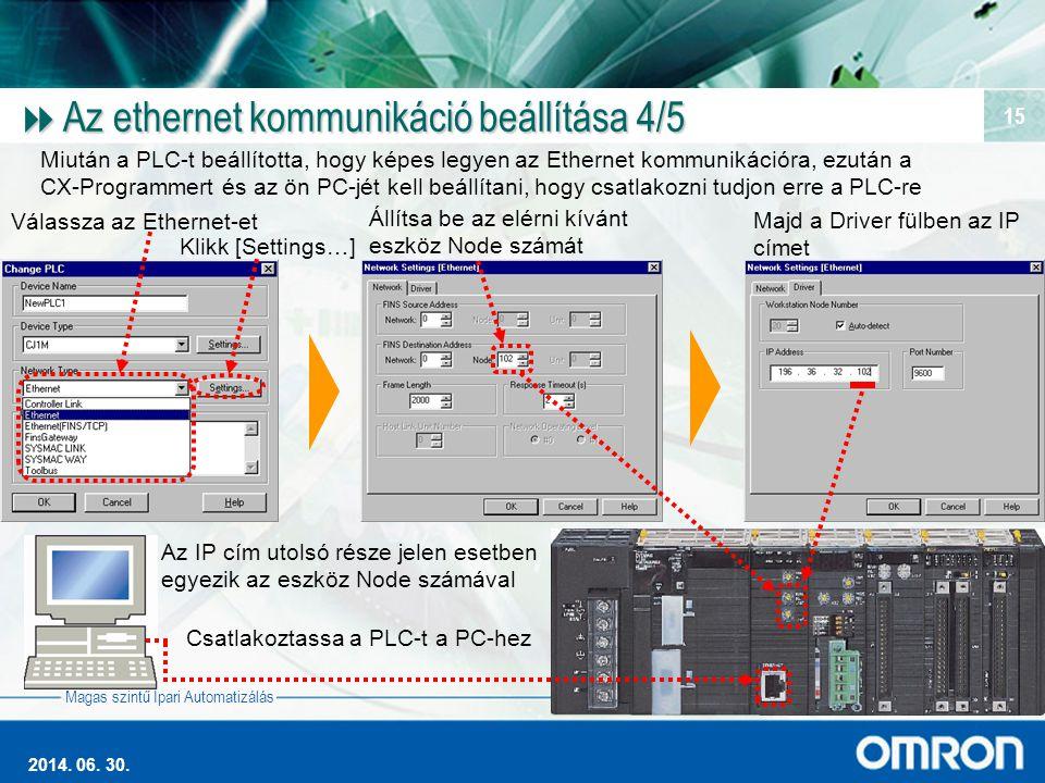 Magas szintű Ipari Automatizálás 2014. 06. 30. 15  Az ethernet kommunikáció beállítása 4/5 Válassza az Ethernet-et Klikk [Settings…] Állítsa be az el