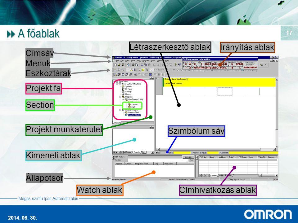 Magas szintű Ipari Automatizálás 2014. 06. 30. 17  A főablak Címsáv Menük Eszköztárak Projekt fa Section Kimeneti ablak Állapotsor Watch ablakCímhiva