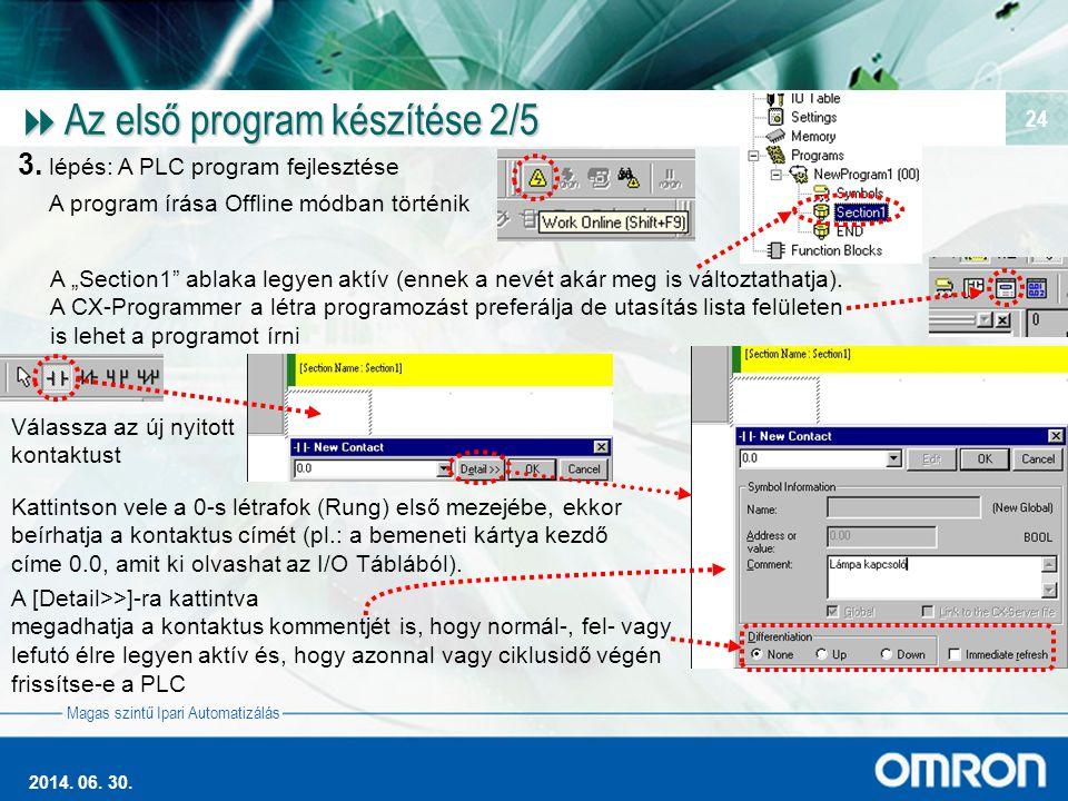 Magas szintű Ipari Automatizálás 2014. 06. 30. 24  Az első program készítése 2/5 3. lépés: A PLC program fejlesztése A program írása Offline módban t