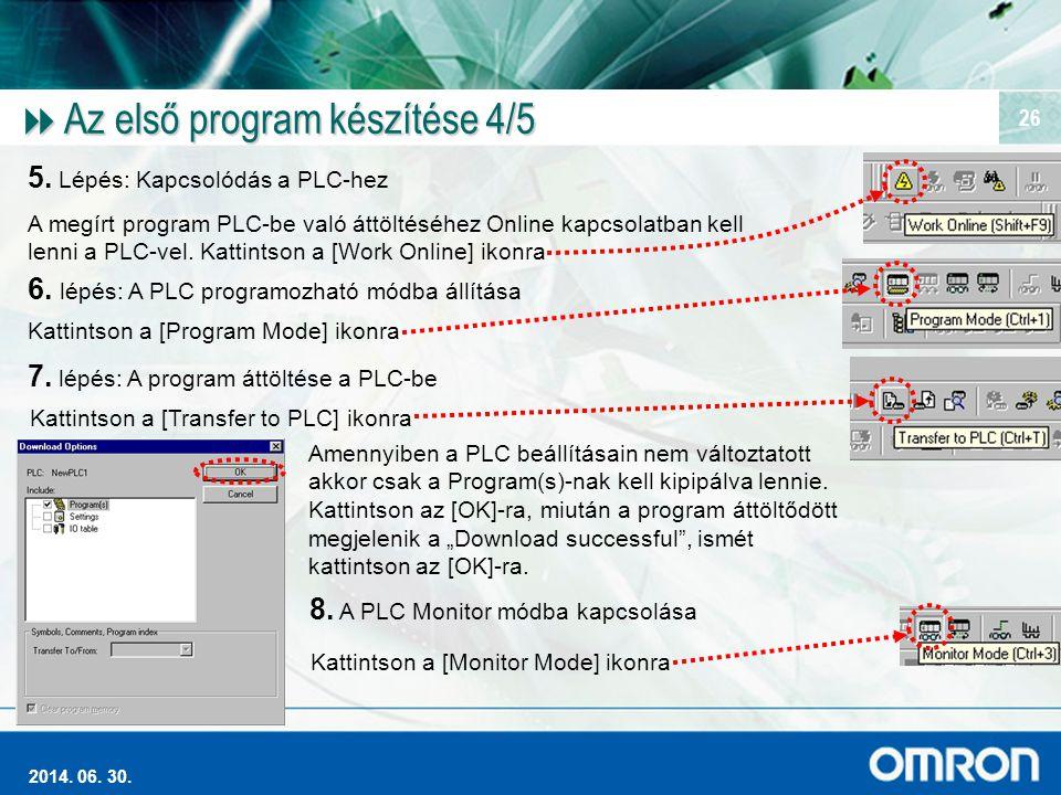 Magas szintű Ipari Automatizálás 2014. 06. 30. 26  Az első program készítése 4/5 5. Lépés: Kapcsolódás a PLC-hez A megírt program PLC-be való áttölté