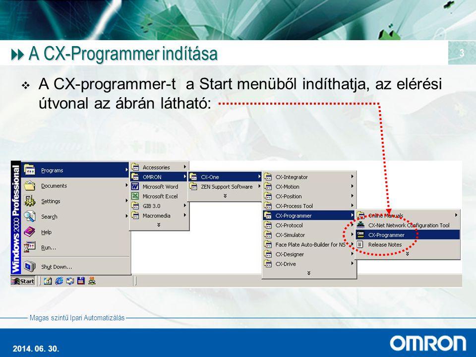 Magas szintű Ipari Automatizálás 2014. 06. 30. 3  A CX-Programmer indítása  A CX-programmer-t a Start menüből indíthatja, az elérési útvonal az ábrá