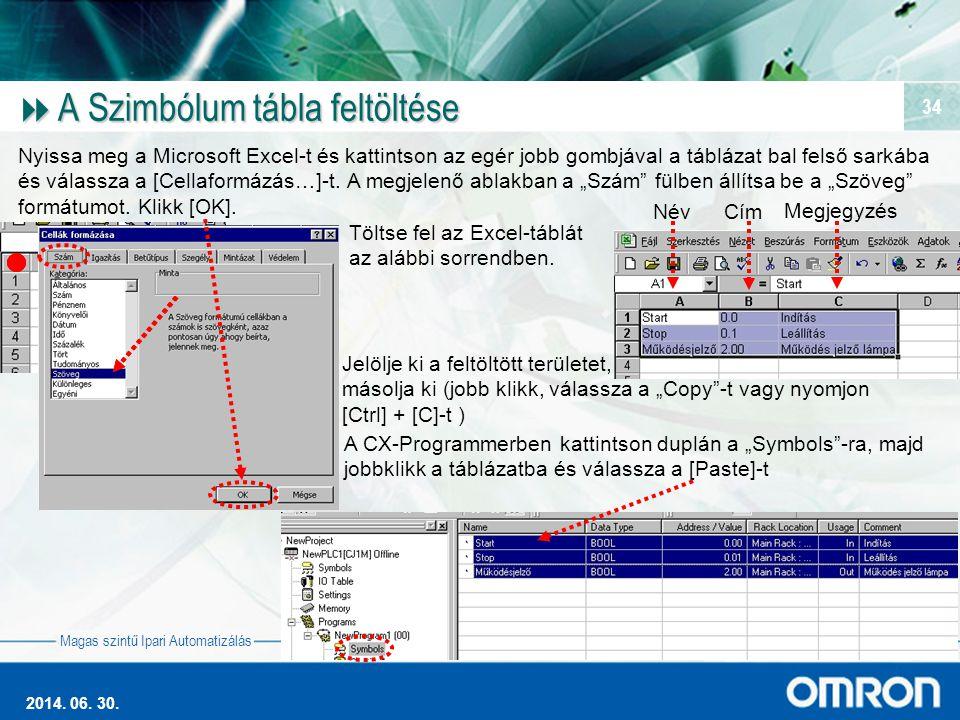 Magas szintű Ipari Automatizálás 2014. 06. 30. 34  A Szimbólum tábla feltöltése Nyissa meg a Microsoft Excel-t és kattintson az egér jobb gombjával a