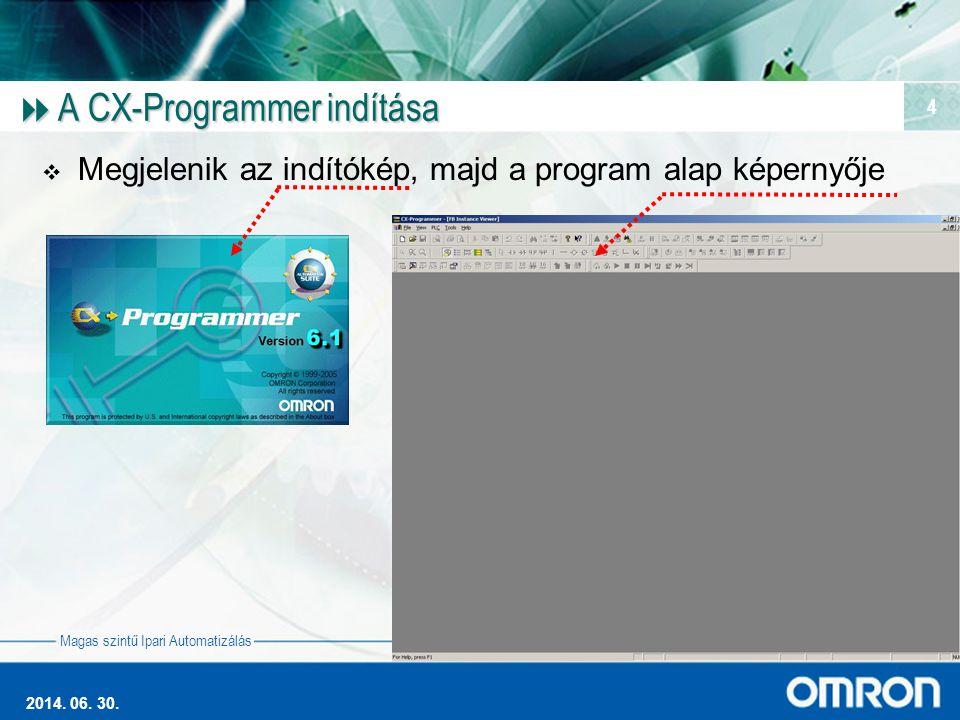 Magas szintű Ipari Automatizálás 2014. 06. 30. 4  A CX-Programmer indítása  Megjelenik az indítókép, majd a program alap képernyője