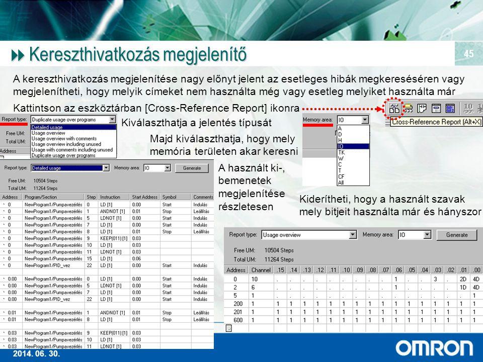 Magas szintű Ipari Automatizálás 2014. 06. 30. 45  Kereszthivatkozás megjelenítő A kereszthivatkozás megjelenítése nagy előnyt jelent az esetleges hi