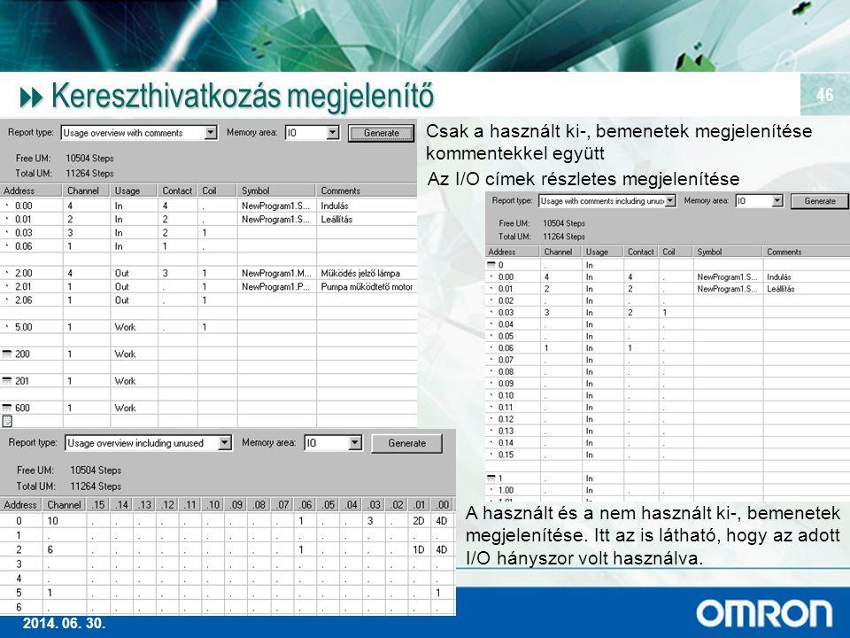 Magas szintű Ipari Automatizálás 2014. 06. 30. 46  Kereszthivatkozás megjelenítő Csak a használt ki-, bemenetek megjelenítése kommentekkel együtt A h
