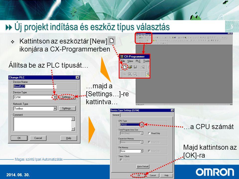 Magas szintű Ipari Automatizálás 2014. 06. 30. 5  Új projekt indítása és eszköz típus választás  Kattintson az eszköztár [New] ikonjára a CX-Program
