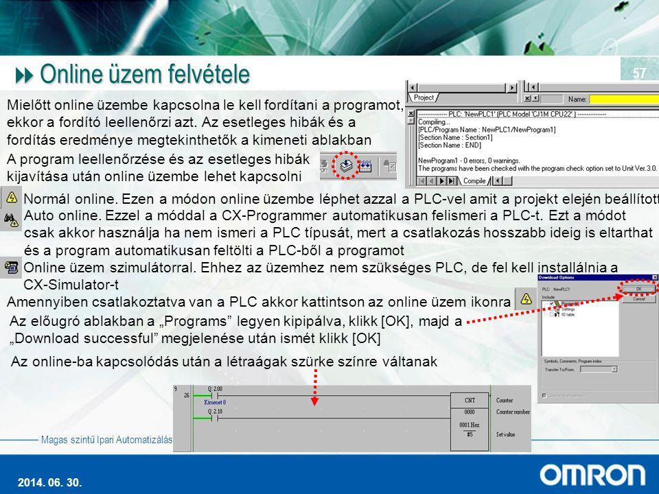 Magas szintű Ipari Automatizálás 2014. 06. 30. 57  Online üzem felvétele Mielőtt online üzembe kapcsolna le kell fordítani a programot, ekkor a fordí