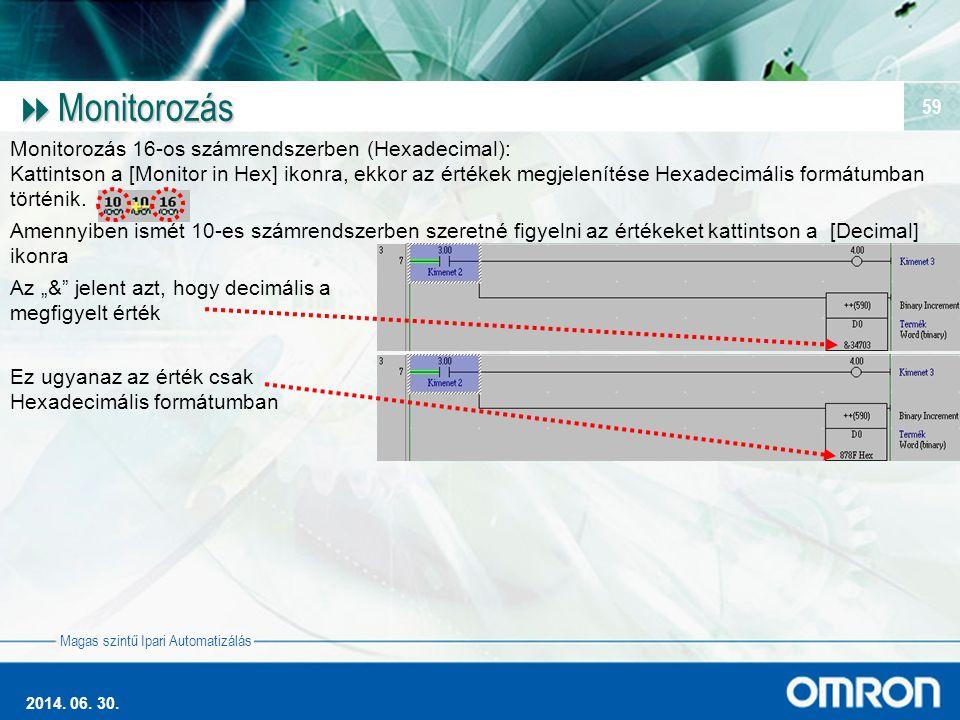 Magas szintű Ipari Automatizálás 2014. 06. 30. 59  Monitorozás Monitorozás 16-os számrendszerben (Hexadecimal): Kattintson a [Monitor in Hex] ikonra,