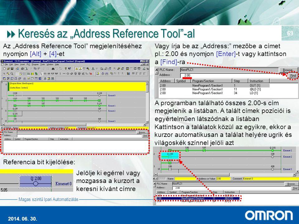 """Magas szintű Ipari Automatizálás 2014. 06. 30. 69  Keresés az """"Address Reference Tool""""-al Az """"Address Reference Tool"""" megjelenítéséhez nyomjon [Alt]"""