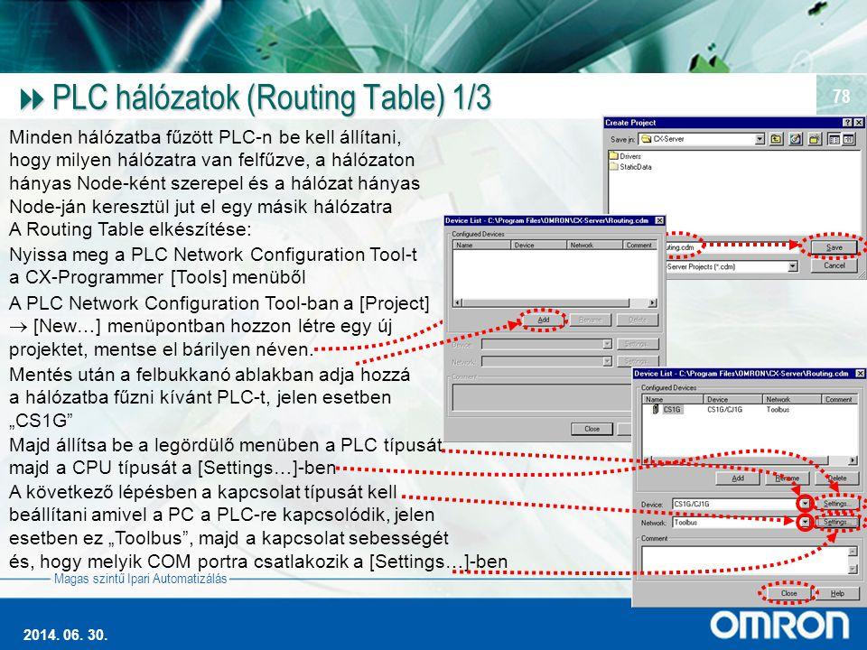 Magas szintű Ipari Automatizálás 2014. 06. 30. 78  PLC hálózatok (Routing Table) 1/3 Minden hálózatba fűzött PLC-n be kell állítani, hogy milyen háló