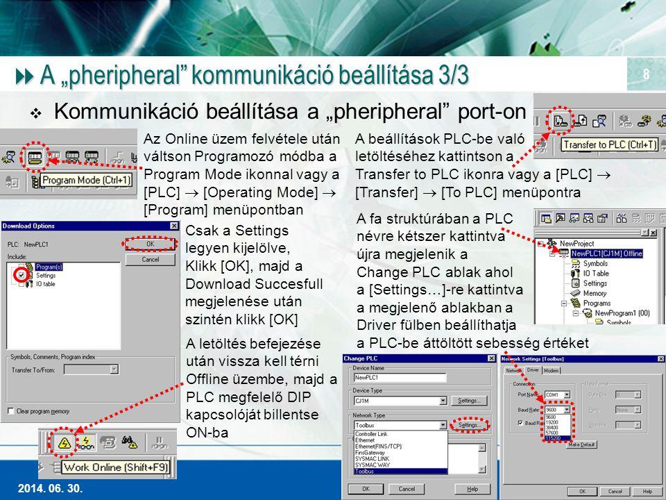 """Magas szintű Ipari Automatizálás 2014. 06. 30. 8  A """"pheripheral"""" kommunikáció beállítása 3/3  Kommunikáció beállítása a """"pheripheral"""" port-on Az On"""