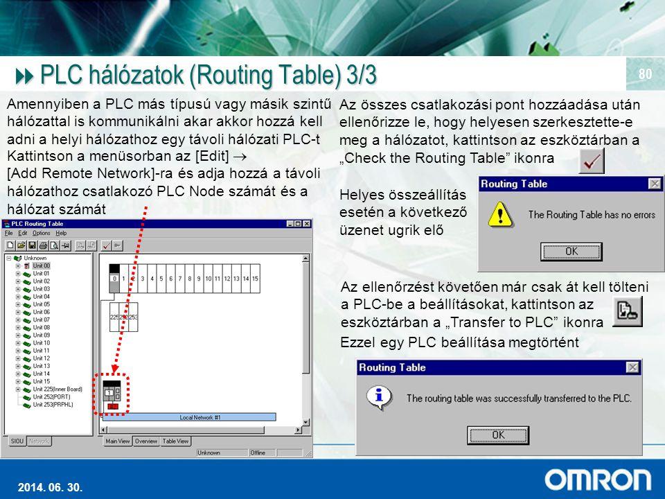 Magas szintű Ipari Automatizálás 2014. 06. 30. 80  PLC hálózatok (Routing Table) 3/3 Amennyiben a PLC más típusú vagy másik szintű hálózattal is komm