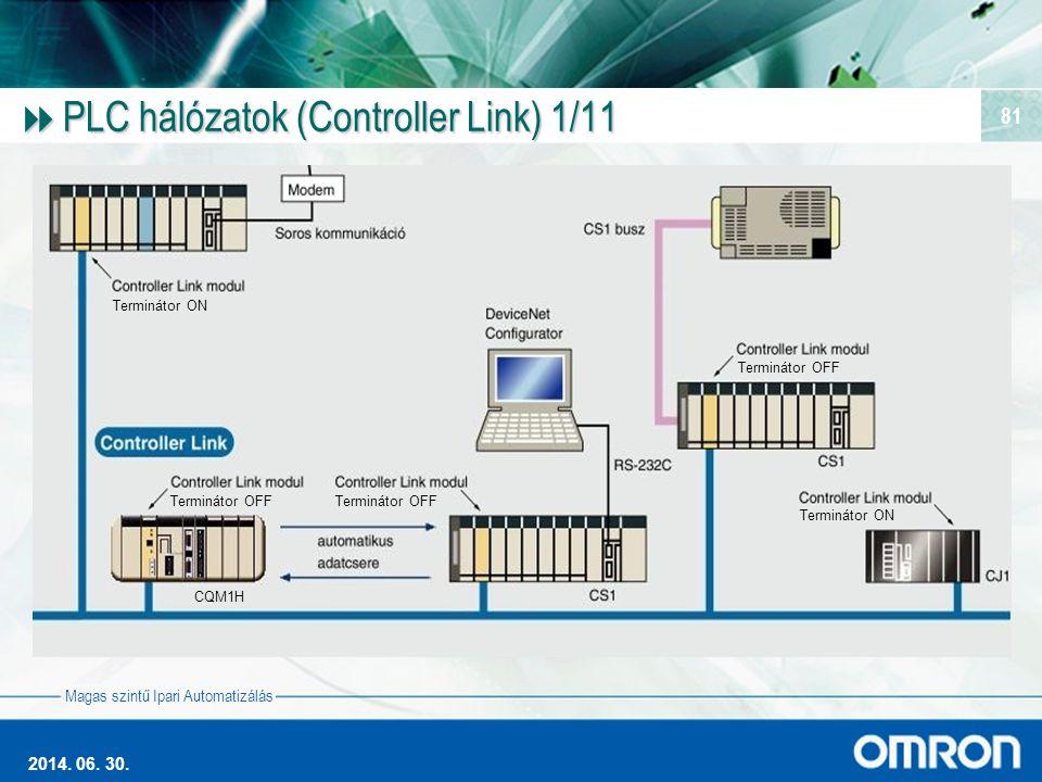 Magas szintű Ipari Automatizálás 2014. 06. 30. 81  PLC hálózatok (Controller Link) 1/11 CQM1H Terminátor ON Terminátor OFF