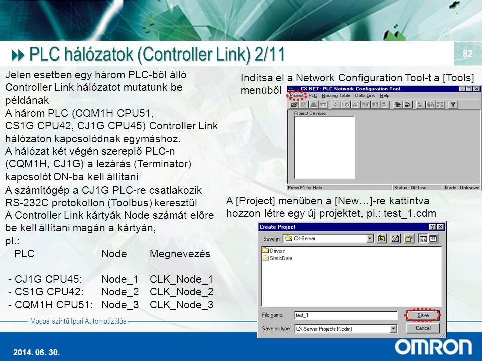 Magas szintű Ipari Automatizálás 2014. 06. 30. 82  PLC hálózatok (Controller Link) 2/11 Jelen esetben egy három PLC-ből álló Controller Link hálózato