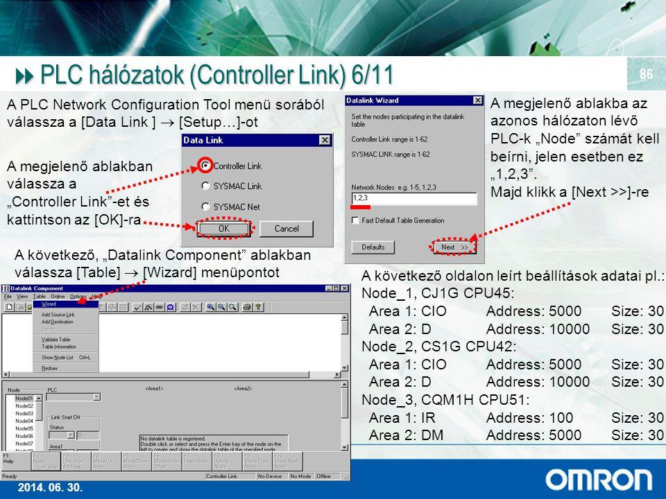Magas szintű Ipari Automatizálás 2014. 06. 30. 86  PLC hálózatok (Controller Link) 6/11 A PLC Network Configuration Tool menü sorából válassza a [Dat