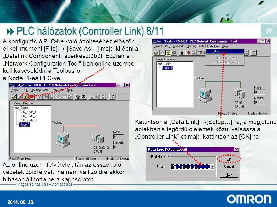 Magas szintű Ipari Automatizálás 2014. 06. 30. 88  PLC hálózatok (Controller Link) 8/11 A konfiguráció PLC-be való áttöltéséhez először el kell mente