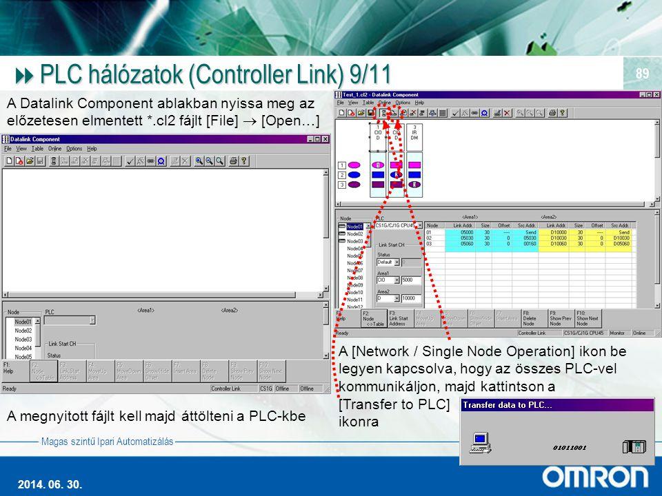 Magas szintű Ipari Automatizálás 2014. 06. 30. 89  PLC hálózatok (Controller Link) 9/11 A Datalink Component ablakban nyissa meg az előzetesen elment