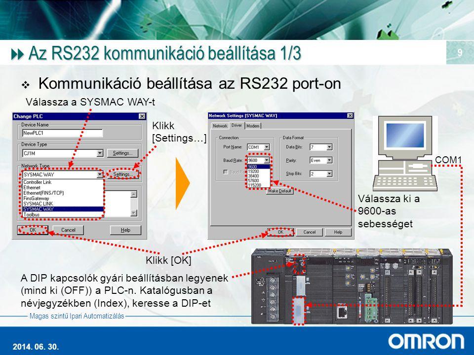 Magas szintű Ipari Automatizálás 2014. 06. 30. 9  Az RS232 kommunikáció beállítása 1/3  Kommunikáció beállítása az RS232 port-on A DIP kapcsolók gyá