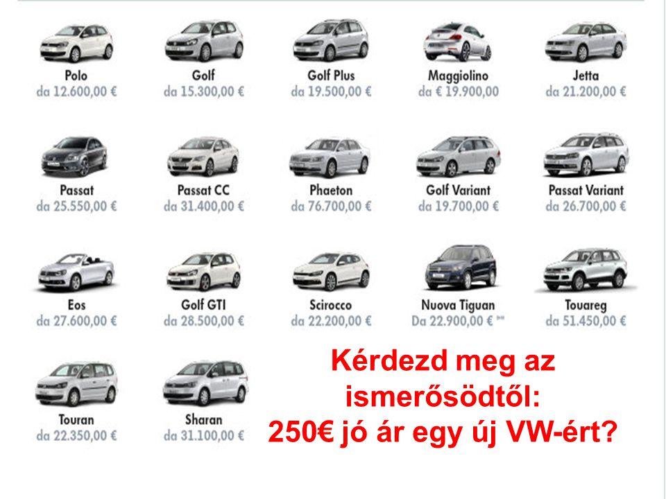 Kérdezd meg az ismerősödtől: 250€ jó ár egy új VW-ért?