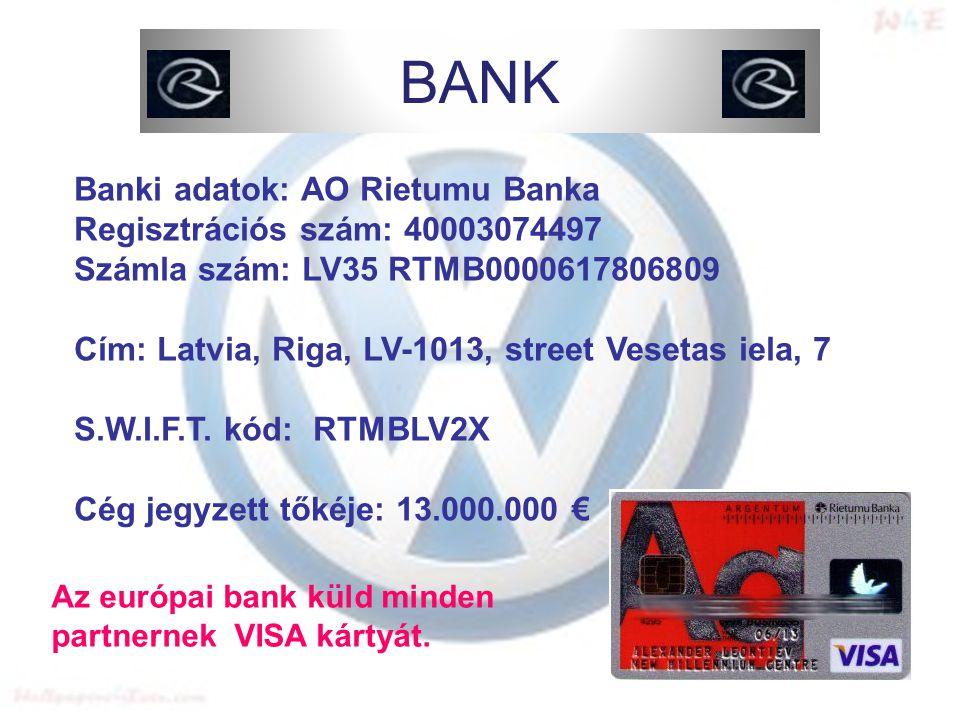 Banki adatok: AO Rietumu Banka Regisztrációs szám: 40003074497 Számla szám: LV35 RTMB0000617806809 Cím: Latvia, Riga, LV-1013, street Vesetas iela, 7 S.W.I.F.T.