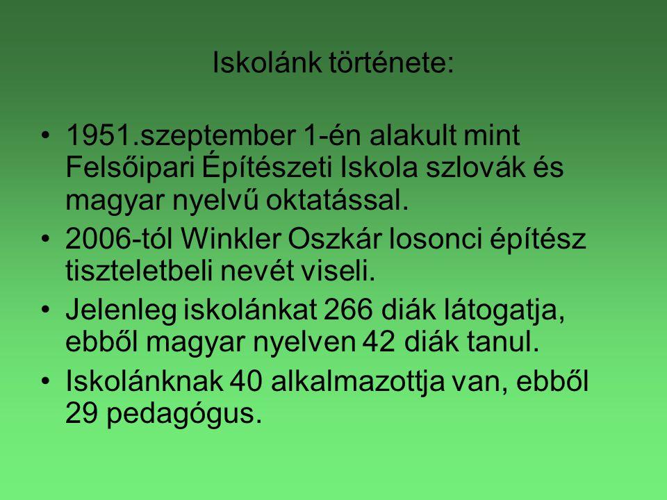 Iskolánk története: •1951.szeptember 1-én alakult mint Felsőipari Építészeti Iskola szlovák és magyar nyelvű oktatással. •2006-tól Winkler Oszkár loso