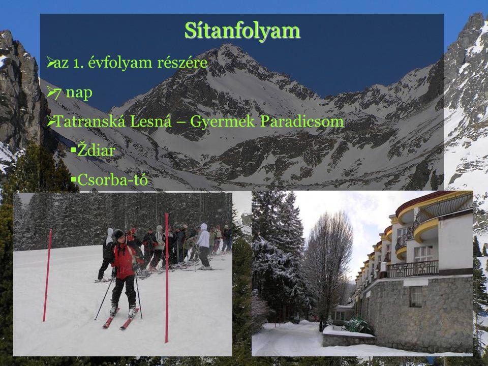 Sítanfolyam  az 1. évfolyam részére  7 nap  Tatranská Lesná – Gyermek Paradicsom  Ždiar  Csorba-tó
