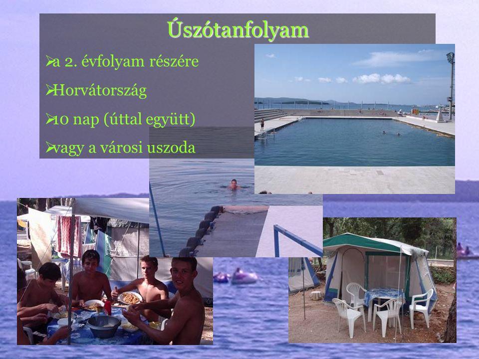 Úszótanfolyam  a 2. évfolyam részére  Horvátország  10 nap (úttal együtt)  vagy a városi uszoda