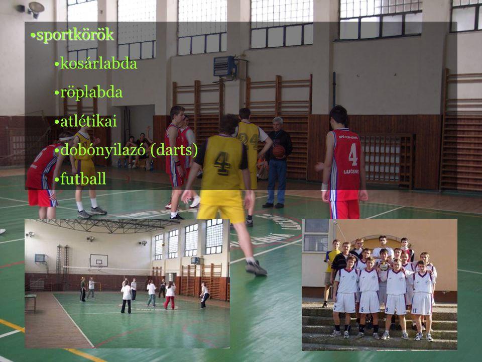•sportkörök •kosárlabda •röplabda •atlétikai •dobónyilazó (darts) •futball