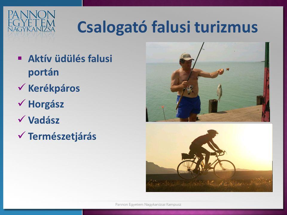 Csalogató falusi turizmus  Aktív üdülés falusi portán  Kerékpáros  Horgász  Vadász  Természetjárás
