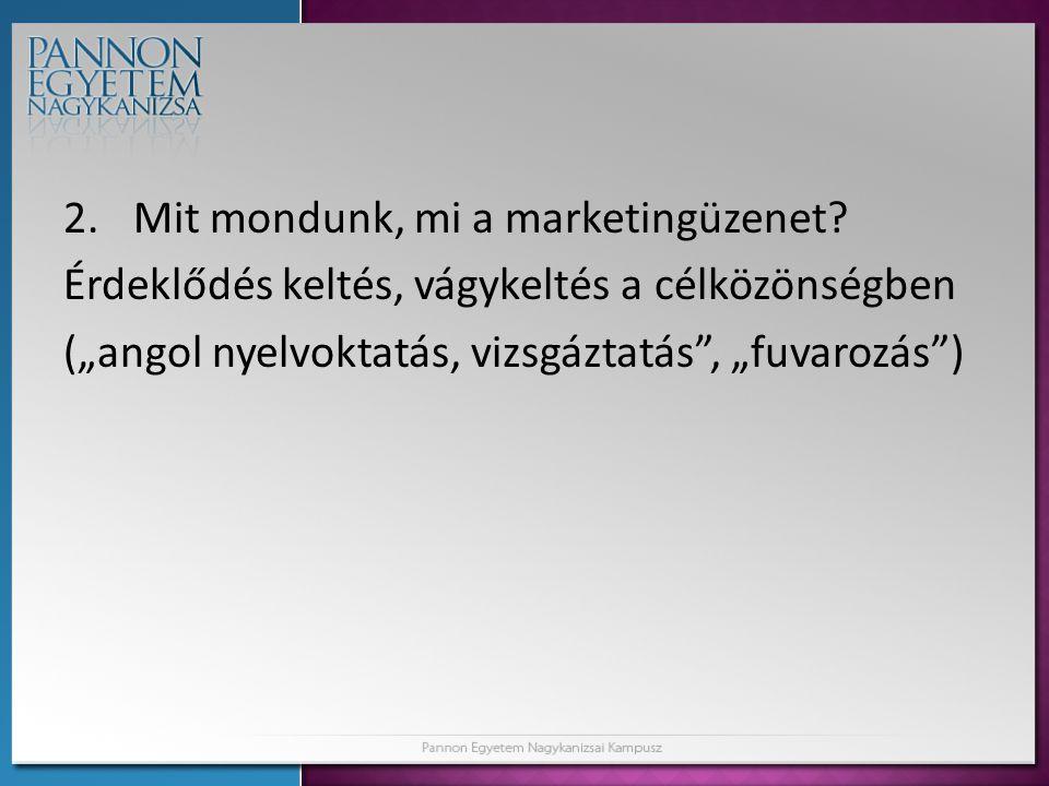 2.Mit mondunk, mi a marketingüzenet.