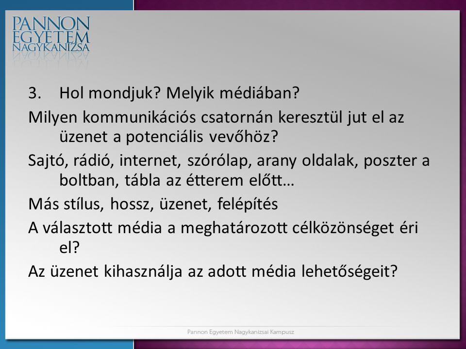 3.Hol mondjuk.Melyik médiában.