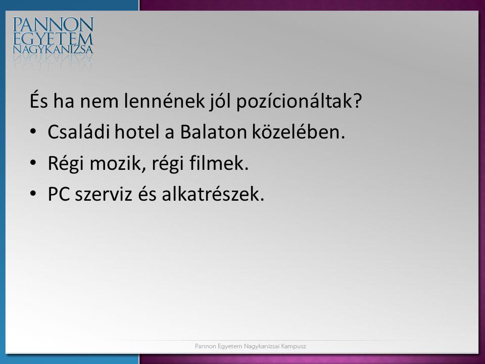 És ha nem lennének jól pozícionáltak.• Családi hotel a Balaton közelében.
