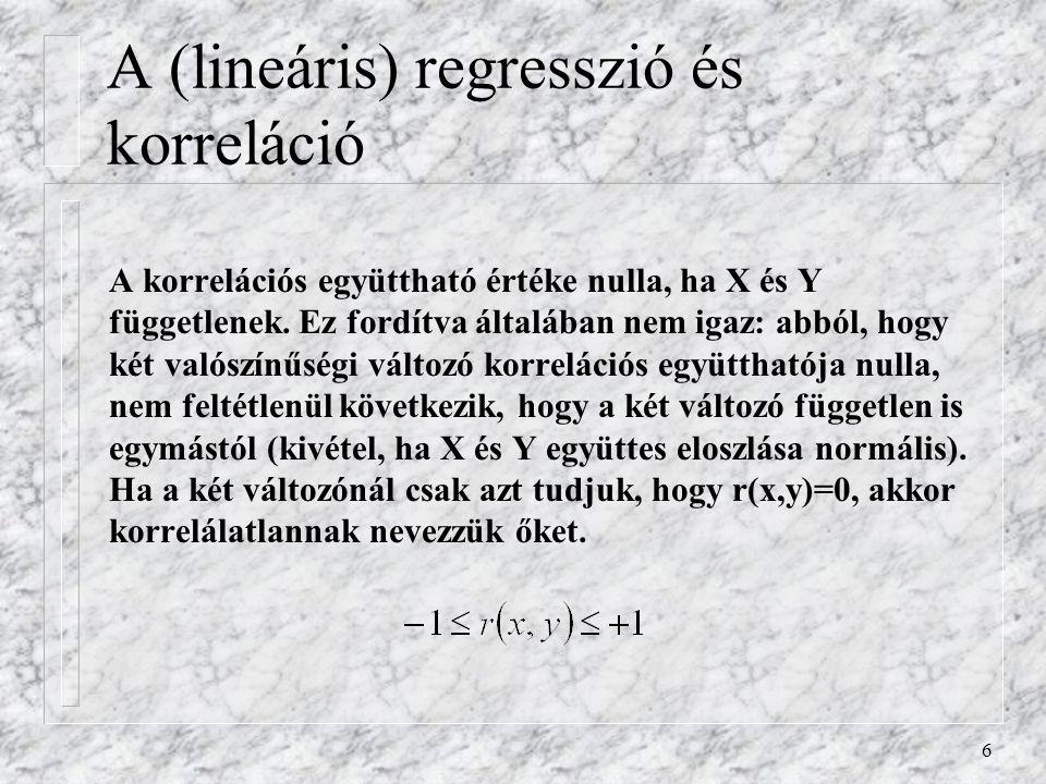 6 A korrelációs együttható értéke nulla, ha X és Y függetlenek. Ez fordítva általában nem igaz: abból, hogy két valószínűségi változó korrelációs együ
