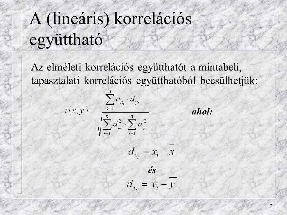 7 A (lineáris) korrelációs együttható Az elméleti korrelációs együtthatót a mintabeli, tapasztalati korrelációs együtthatóból becsülhetjük: és ahol: