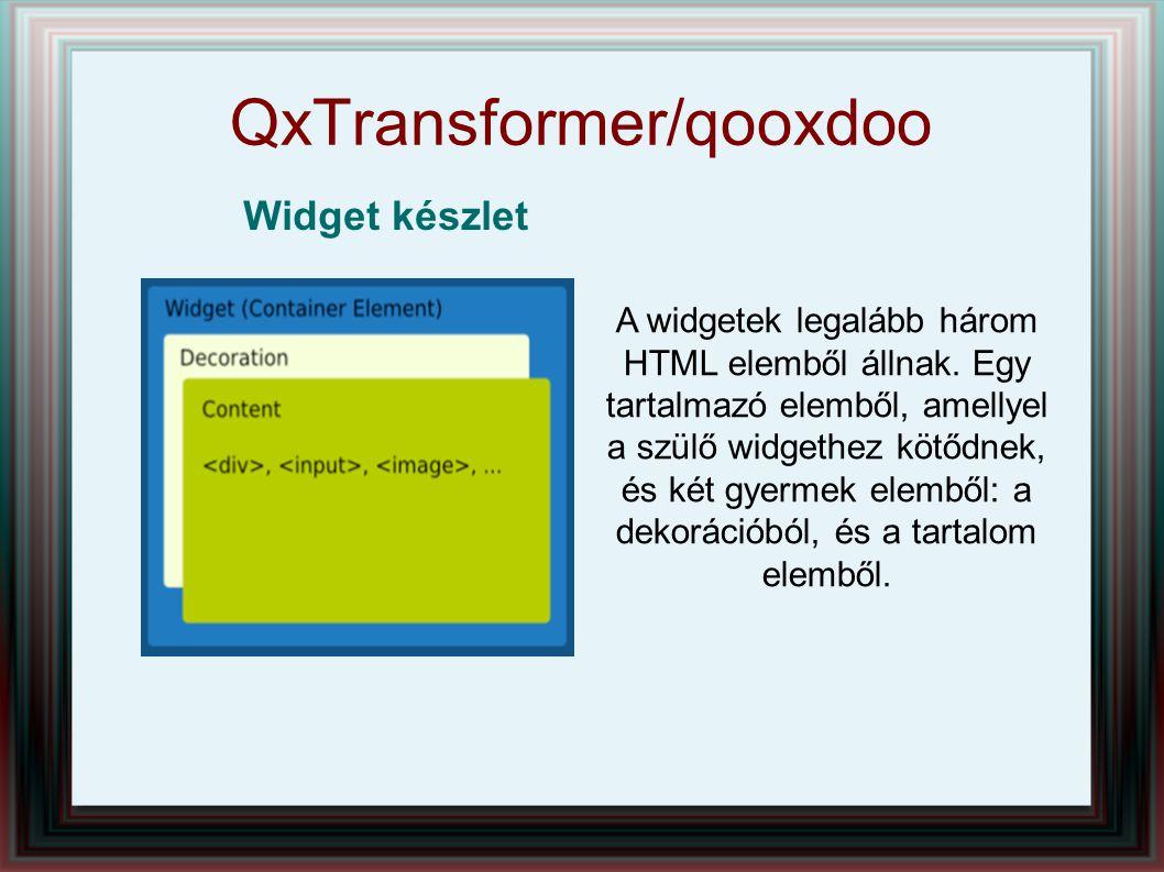 QxTransformer/qooxdoo Widget készlet A widgetek legalább három HTML elemből állnak. Egy tartalmazó elemből, amellyel a szülő widgethez kötődnek, és ké