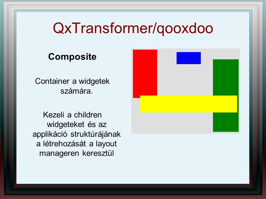 QxTransformer/qooxdoo Composite Container a widgetek számára. Kezeli a children widgeteket és az applikáció struktúrájának a létrehozását a layout man