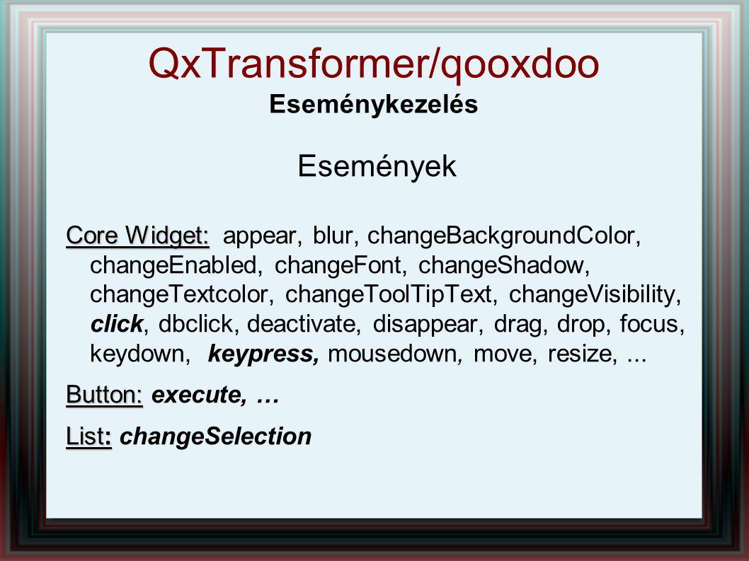 QxTransformer/qooxdoo Eseménykezelés Események Core Widget: Core Widget: appear, blur, changeBackgroundColor, changeEnabled, changeFont, changeShadow,