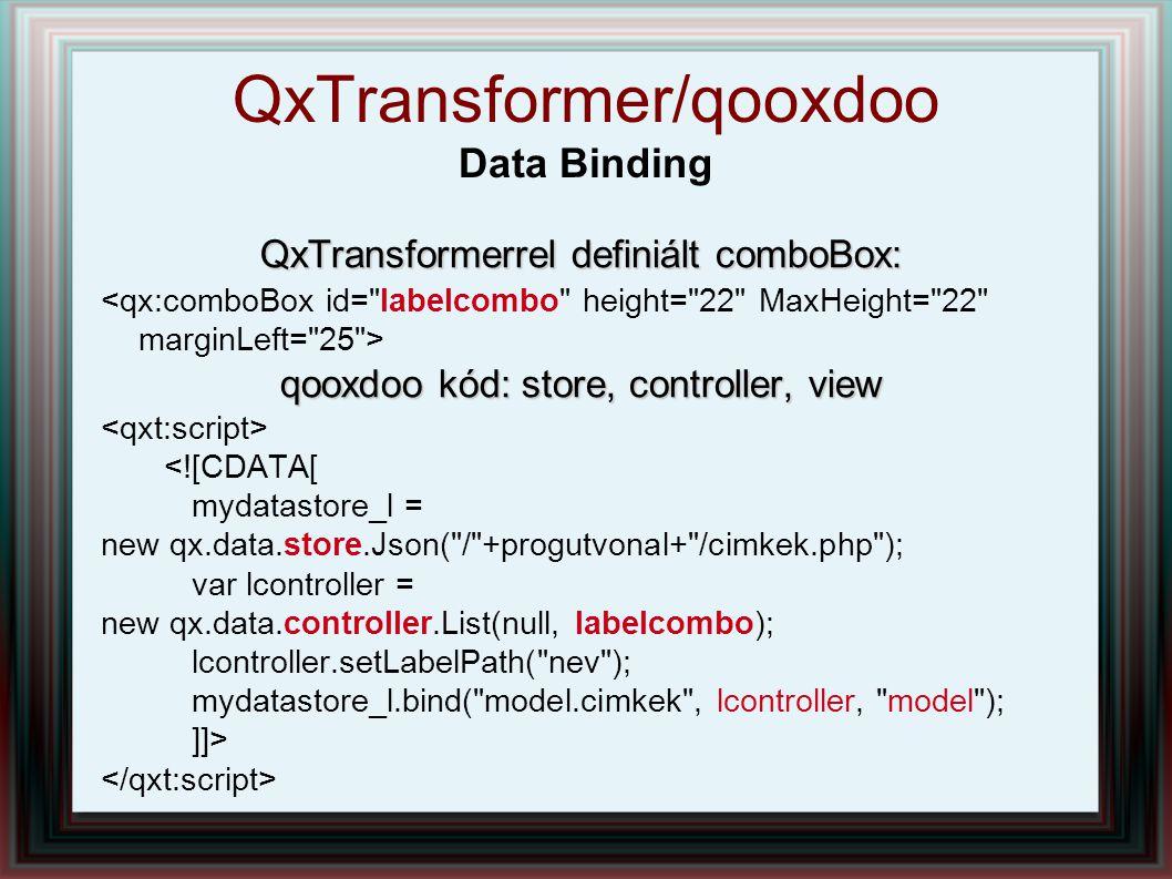 QxTransformerrel definiált comboBox: qooxdoo kód: store, controller, view <![CDATA[ mydatastore_l = new qx.data.store.Json( / +progutvonal+ /cimkek.php ); var lcontroller = new qx.data.controller.List(null, labelcombo); lcontroller.setLabelPath( nev ); mydatastore_l.bind( model.cimkek , lcontroller, model ); ]]> QxTransformer/qooxdoo Data Binding