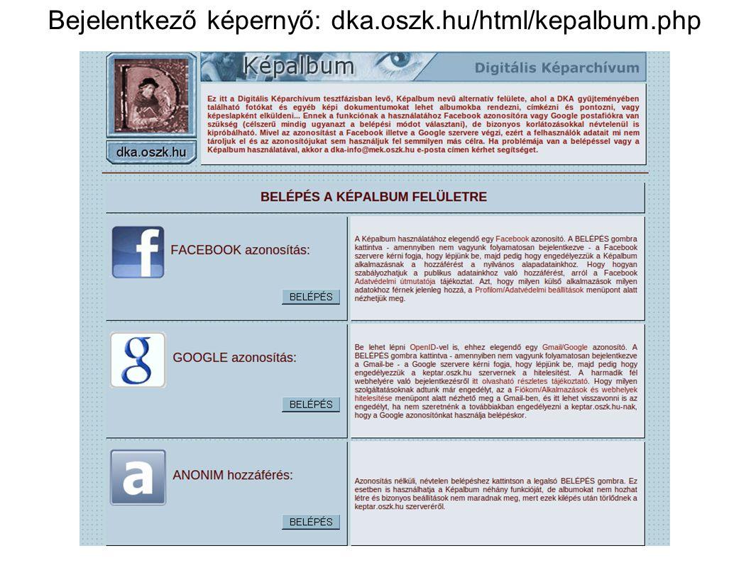Bejelentkező képernyő: dka.oszk.hu/html/kepalbum.php