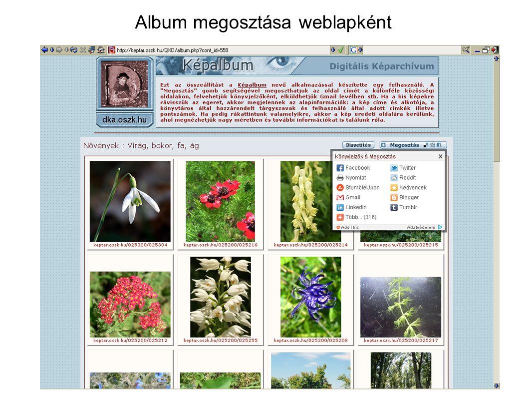 Album megosztása weblapként