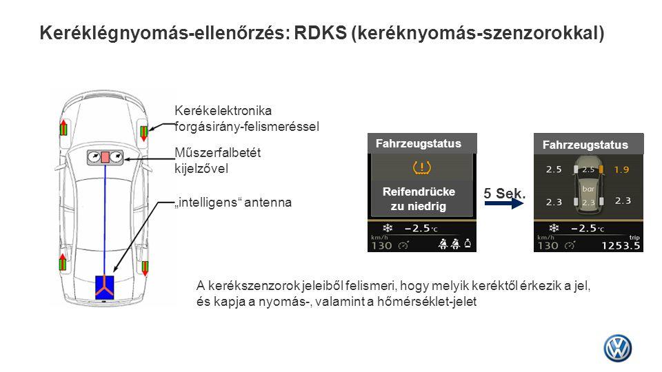 Keréklégnyomás-ellenőrzés: RDKS (keréknyomás-szenzorokkal) 5 Sek. Fahrzeugstatus Reifendrücke zu niedrig Kerékelektronika forgásirány-felismeréssel Mű