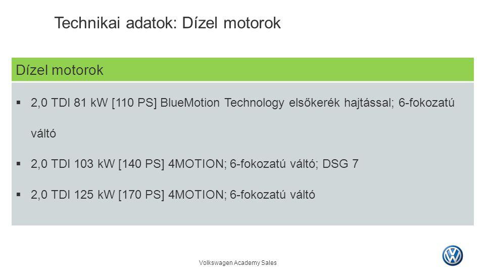 Volkswagen Academy Sales Dízel motorok  2,0 TDI 81 kW [110 PS] BlueMotion Technology elsőkerék hajtással; 6-fokozatú váltó  2,0 TDI 103 kW [140 PS]