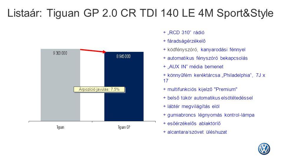 """Listaár: Tiguan GP 2.0 CR TDI 140 LE 4M Sport&Style Árpozíció javulás: 7,5% + """"RCD 310"""" rádió + fáradságérzékelő + ködfényszóró, kanyarodási fénnyel +"""