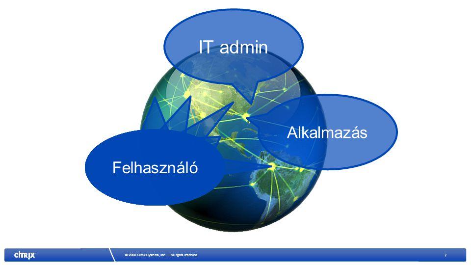 7 © 2008 Citrix Systems, Inc. — All rights reserved Alkalmazás Felhasználó IT admin