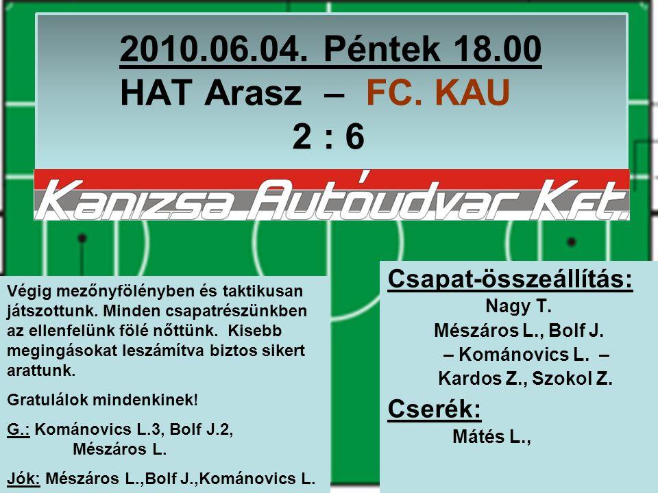 2010.06.04. Péntek 18.00 HAT Arasz – FC. KAU 2 : 6 Csapat-összeállítás: Nagy T.