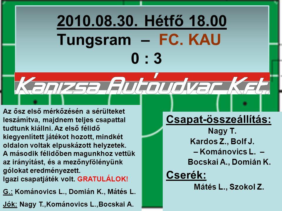 2010.08.30. Hétfő 18.00 Tungsram – FC. KAU 0 : 3 Csapat-összeállítás: Nagy T.