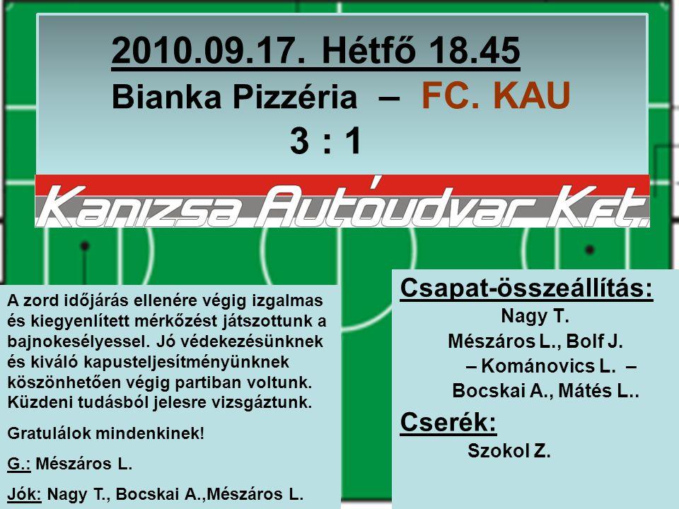 2010.09.17. Hétfő 18.45 Bianka Pizzéria – FC. KAU 3 : 1 Csapat-összeállítás: Nagy T.