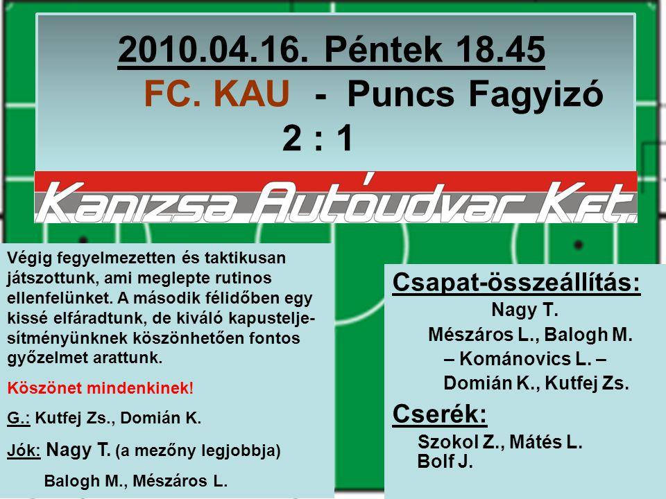 2010.04.23.Péntek 20.15 MU-VILL – FC. KAU 2 : 0 Csapat-összeállítás: Nagy T.